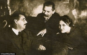 Nick Clegg's great, great aunt with two of her many lovers: HG Wells and Maxim Gorky. Click to enlarge