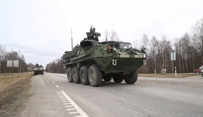 US Stryker armoured vehicles pass through Poland in Operation Dragon Ride, part of a drive by Western fighting vehicles close to Russia's border. Click to enlarge