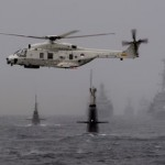 NATO ships and helicopters in anti submarine drills in the North Sea