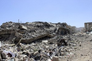 Saudi led airstrikes have laid waste to much of Houthi held city of Saada. Click to enlarge