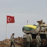 Turkish troops near the border with Syria