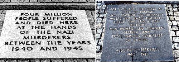 Auschwitz sign referred to in the video below, before and after 1989.