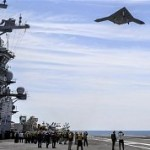 X-47B above aircraft carrier.