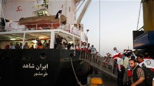 The Iranian ship Nejat (Rescue) sets off from the Iranian southern port city of Bandar Abbas to deliver humanitarian aid to war-torn Yemen, May 11, 2015. Click to enlarge