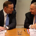 Australian Prime Minister Tony Abbott with Maurice Newman (right). click to enlarge