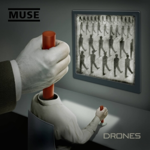 The album cover of Drones depicts an unseen puppet master controlling a drone who is controlling masses of drones.