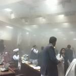 Inside the Afghan Parliament during the ongoing attack. Click to enlarge