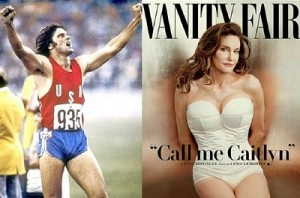 Bruce Jenner winning his Olympic gold in 1976 to the cover of Vanity Fair, 2015. Click to enlarge