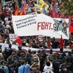 Police face anti-G7 protestors in southern Germany, June 6, 2015