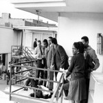 April 4, 1968: Memphis police join Ralph Abernathy, Andrew Young and Jesse Jackson on a balcony of the Lorraine Motel. Martin Luther King, Jr. lies unconscious at their feet, felled by an assassin's bullet. He never regained consciousness. Click to enlarge