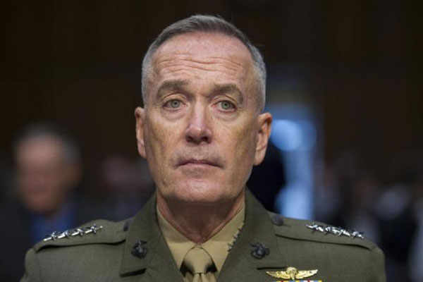Marine Corps Commandant Gen. Joseph Dunford, Jr., testifies during his Senate Armed Services Committee confirmation hearing to become the Chairman of the Joint Chiefs of Staff, on Capitol Hill, Thursday, July 9, 2015. Click to enlarge