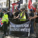Far-protesters demonstrators attend a rally on Whitehall in central London on July 4, 2015. There were a couple of hundred anti-fascist demonstrators chanting over the rally held by the around 20 anti-jewish, far-right demonstrators. Click to enlarge