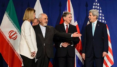 EU's Mogherini, Iran's Zarif, Britain's Hammond and United States' Kerry prepare for announcement following nuclear talks in Lausanne, Switzerland, April 2, 2015. Click to enlarge