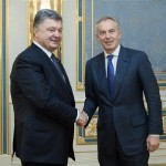 Ukrainian President Petro Poroshenko and Tony Blair. Click to enlarge