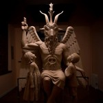 A statue of baphomat that the satanic temple had wanted placed in the Oklahoma State Capitol grounds. Click to enlarge