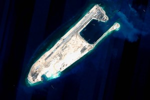Fiery Cross Reef in the Spratly Islands, part of China's land reclamation work in the South China sea. Click to enlarge