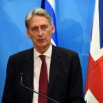 British Foreign Secretary Philip Hammond speaks during a press conference. Click to enlarge