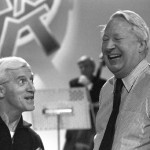 Savile and Heath share a joke at BBC rehearsals in 1980