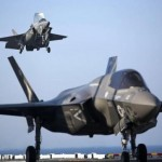 Two U.S. Marine F-35B Lightning II Joint Strike Fighters complete vertical landings aboard the USS Wasp (LHD-1) during operational testing May 18, 2015.  REUTERS/U.S. Marine Corps/Lance Cpl. Remington Hall/Handout
