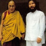 Dalai Lama with the guru Shoko Asahara of the AUM sect of Japan, responsible for the Tokyo sarin gas attack on March 20, 1995