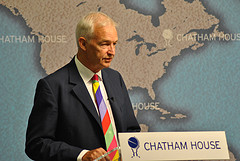 Channel 4 News host Jon Snow addresses a meeting as Chatham House