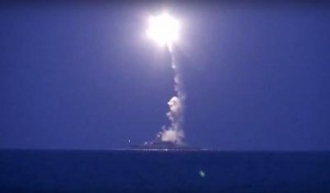 Russian cruise missile launch from ships in the Caspian Sea to targets in Syria. Click to enlarge