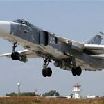 An Su-24m takes off from Hmeymim Airbase outside the Syrian port city of Latakia