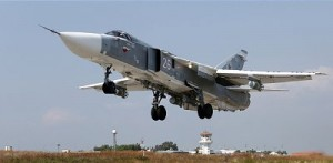 An Su-24m takes off from Hmeymim Airbase outside the Syrian port city of Latakia. Click to enlarge