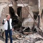 David Stokes, head of Doctors Without Borders,stands in the ruined Kunduz hospital