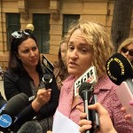 Fiona Barnett speaks to the media in Sydney.