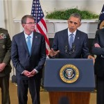 President Barack Obama, accompanied by, from left, Joint Chiefs Chairman Gen. Joseph Dunford, Defense Secretary Ash Carter and Vice President Joe Biden, speaks Oct. 15, 2015, at the White House in Washington. The White House announced Friday, Oct. 30 that a small number of special forces will be put on the ground in the fight against the Islamic State in Syria – a new strategy that pretty clearly contradicts past Obama and administration statements that U.S. forces would not be put on the ground there.