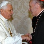 The then Pope Benedict and the future Pope Francis greet each other with masonic hand grip. Click to enlarge with the hand grip highlighted