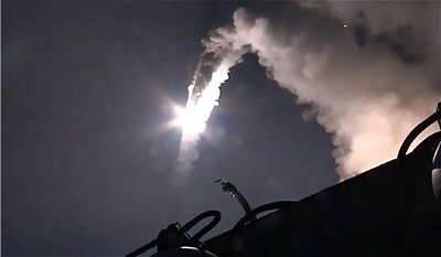 Russian warships in the Caspian Sea launch cruise missiles on targets in Syria. Click to enlarge