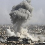 Smoke rises after shelling by the Syrian army last week in Jobar, Damascus, Syria. Backed by Russian air strikes, the Syrian army has launched an offensive in central and north-western regions. Click to enlarge