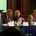 Left to Right: Dr. Will Happer, Dr. Richard Lindzen & Dr. Patrick Moore. Click to enlarge