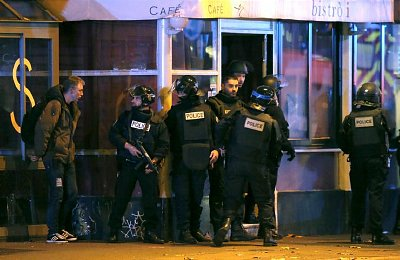 French police secure the area around the Bataclan concert venue.