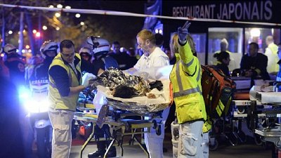 Injured evacuated from the Bataclan Theatre. Click to enlarge