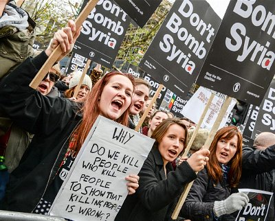 Protest in London against proposed bombing campaign in Syria. Click to enlarge