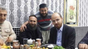 President Erdogan's son Bila (right),l pictured with what are thought to be ISIL commanders. Click to enlarge