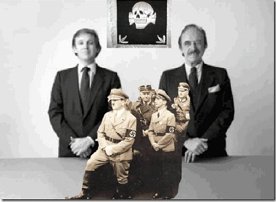 "Donald and his father Fred with Masonic/Brotherhood of Death hand-over-hand Skull and Bones (""X"") Signal. The sign, or letter X, has a long history of use in the Ancient Mystery Religions, in apostate Judaism, in Freemasonry, and in the Occult. The ILLUMINATI elite use it to this day to symbolize key phenomena and mark significant events."