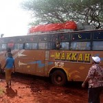 The hijacked bus in Mandera, northern Kenya where 28 people were killed in 2014. Click to enlarge
