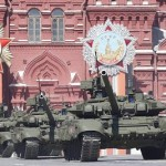 T-90 tanks during a rehearsal for the Victory Day parade in Red Square in central Moscow, May 7, 2015. Click to enlarge