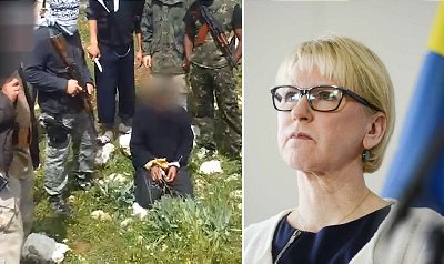 Two Swedish citizens were convicted by a Gothenburg Court of joining an Islamist terror group in Syria and murdering two captives. Video evidence (left) showed one victim being beheaded. When asked if she is worried about the radicalization of young people in Sweden who choose to fight for ISIS, Sweden's Foreign Minister, Margot Wallström (right), blamed Israel's treatment of Palestinians. Click to enlarge