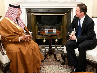 David Cameron talks to Saudi Arabia's Foreign Minister Prince Saud Al Faisal. Clcik to enlarge