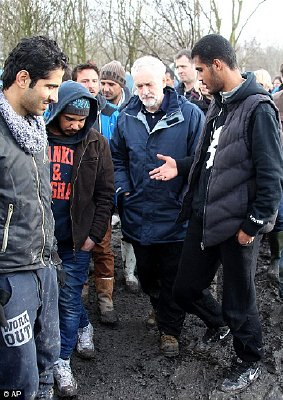 Jeremy Corbyn at the migrant camp near Calais earlier on Saturday.