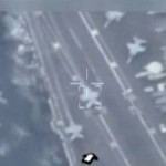 Still from a video broadcast on Iranian TV of footage from a drone of a US carrier