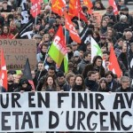 "Protesters march behind a banner reading ""To put an end to the state of emergency"" in Rennes on January 23, 2016 (AFP Photo/Jean-Francois Monier). Click to enlarge"