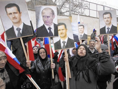 Demonstration at the Russian Embassy in Damascus