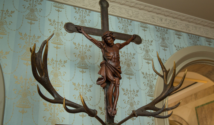Jesus Christ between antlers meant to represent St Hubertus' vision.