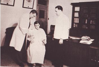 Mengele, 38, on the left. Ann Diamond was given this photo from a yearbook published in 1949  by Hopital Saint Michel Archange in Quebec City.